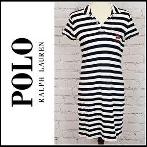 POLO by RALPH LAUREN Striped Polo Dress w/Collar M